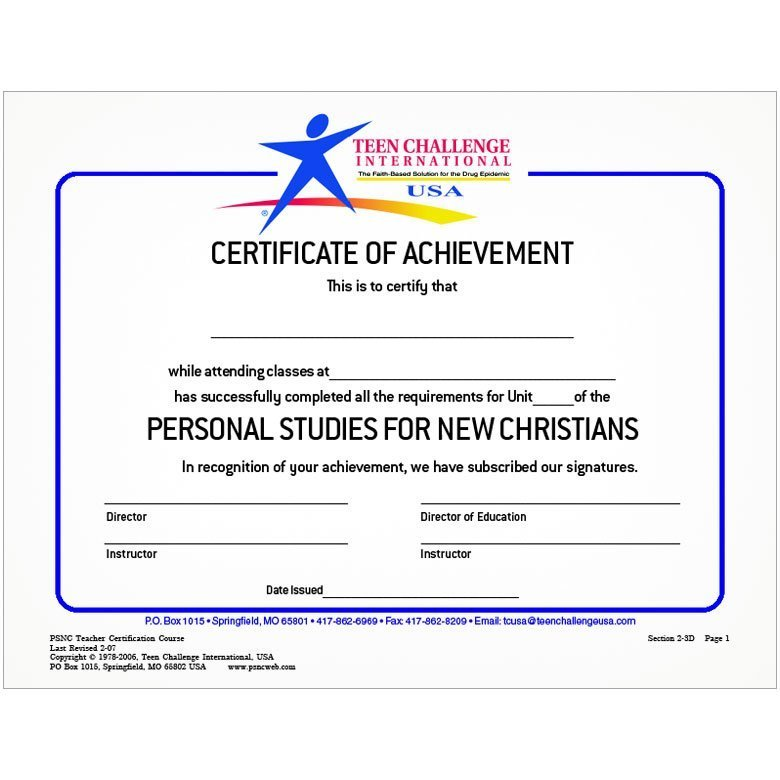 PSNL Student Certificate Of Completion (50 Pk)